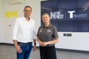 Mark Davis & Jackie Thornton in front of the Inspire space at The Nest