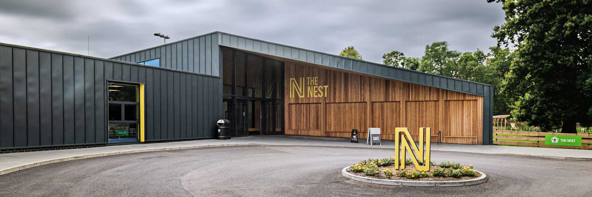 The nest hub entrance and roundabout - the hub building