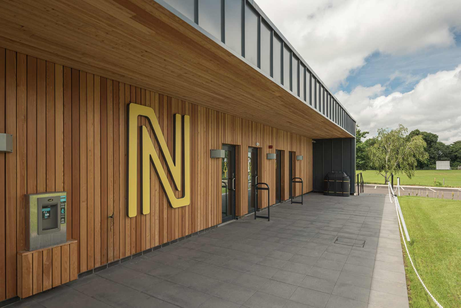 The changing room facade on the Hub building at The Nest